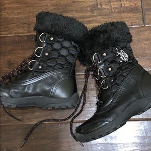 Black fur at top polo boots